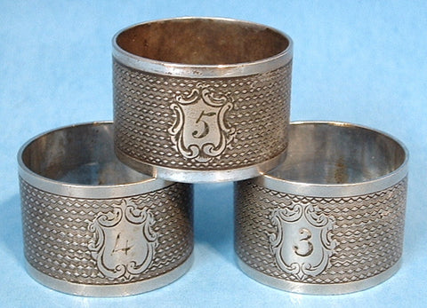 Edwardian Napkin Rings Set Of 3 Engraved English Silverplate 1900-1910 - Antiques And Teacups - 1