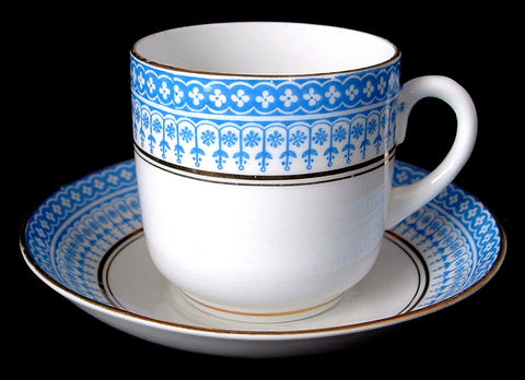 Edwardian Cup And Saucer Royal Stafford Blue White 1900-1910s Glencoe Scottish Arts And Crafts - Antiques And Teacups - 1
