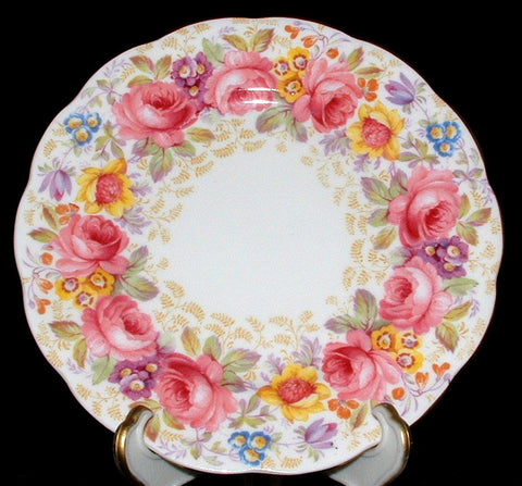 Royal Albert Serena Salad Plate Made In England 1940s Side Plate Tea Plate Pink Roses - Antiques And Teacups - 1