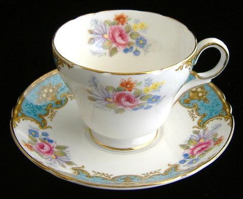 Shelley Blue Empress Demi Cup And Saucer Henley Shape Gold Trim
