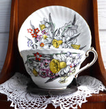 Daffodil Cup And Saucer Victoria 1930s English Bone China Teacup Narcissus Enamel Accents - Antiques And Teacups - 2