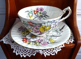 Daffodil Cup And Saucer Victoria 1930s English Bone China Teacup Narcissus Enamel Accents - Antiques And Teacups - 4