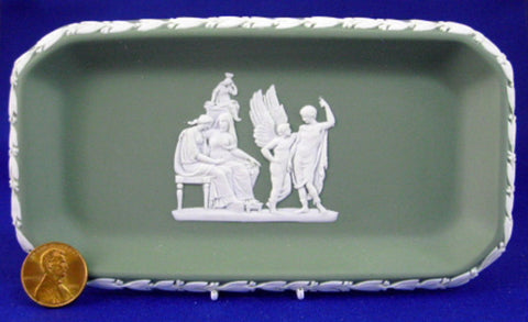 Wedgwood Green Jasperware Pen Tray Icarus Deadalus 1960s Spoon Tray - Antiques And Teacups - 1