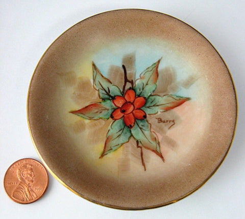 Dogwood Berries Butter Pat Teabag Holder 1950s Hand Painted Artisan Small Dish - Antiques And Teacups - 1