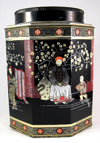 English Tea Tin Caddy Oriental Design Biscuit Tin 1930s Oriental Design - Antiques And Teacups - 1