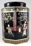 English Tea Tin Caddy Oriental Design Biscuit Tin 1930s Oriental Design - Antiques And Teacups - 2