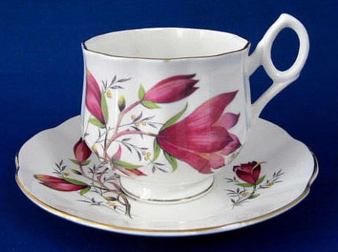 Rosina Cup and Saucer Burgundy Crocus Flowers Bone China 1960s - Antiques And Teacups - 1