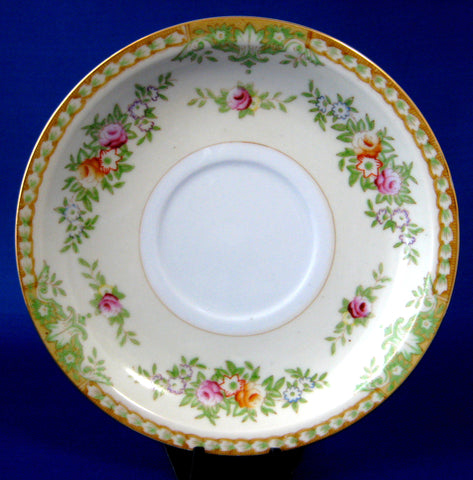 Occupied Japan Floral Borders Saucer Only Yazaka Gold Trim 1945-1952 Pale Yellow Bands
