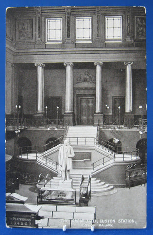 Railroad Postcard Real Photo L&NW Great Hall Euston Station London 1890s - Antiques And Teacups - 1
