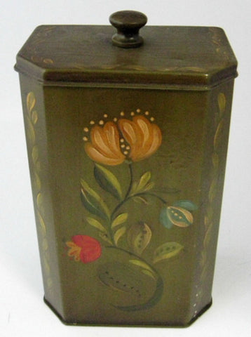 Tole Tea Caddy Tea Tin Hand Painted Penn Dutch Floral 1930-1940s USA - Antiques And Teacups - 1