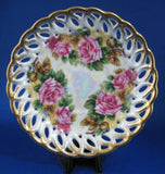 Saucer Only Gorgeous Lush Roses Luster Sealy Japan 1960s Reticulated Brushed Gold Trim - Antiques And Teacups - 1