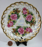 Saucer Only Gorgeous Lush Roses Luster Sealy Japan 1960s Reticulated Brushed Gold Trim - Antiques And Teacups - 2