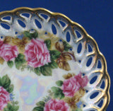 Saucer Only Gorgeous Lush Roses Luster Sealy Japan 1960s Reticulated Brushed Gold Trim - Antiques And Teacups - 3