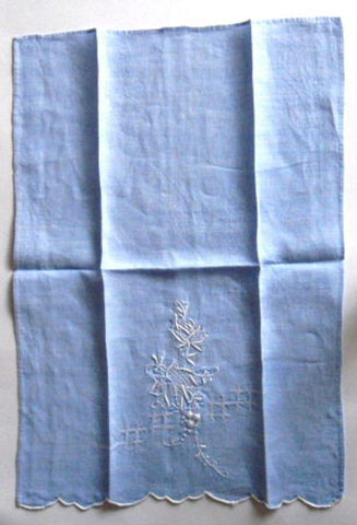 Linen Guest Towel Hand Towel Hand Embroidered 1950s Blue And White - Antiques And Teacups - 1