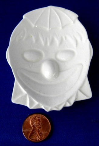 Tea Bag Caddy Figural Clown Face Ceramic White Signed 1988 - Antiques And Teacups - 1