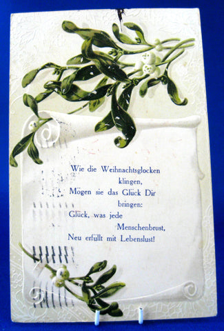 Antique Postcard Christmas German Poem 1911 Embossed Mistletoe