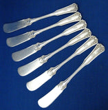 Edwardian Wallace Silver Laurel Butter Spreaders Antique Set Of 6 Initial O - Antiques And Teacups - 1