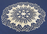 Doily Crocheted Thread Picot Lacy Star Ecru English - Antiques And Teacups - 1
