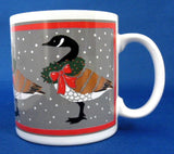 Christmas Mug Canada Geese With Wreaths Artist Signed 1983 - Antiques And Teacups - 1