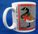 Christmas Mug Canada Geese With Wreaths Artist Signed 1983 - Antiques And Teacups - 2