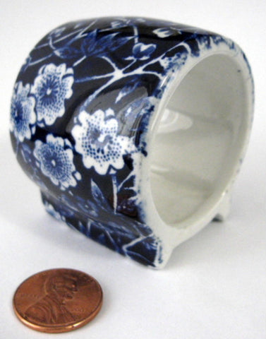 Blue Calico Ceramic Napkin Ring Burleigh England Blue Chintz 1970s - Antiques And Teacups - 1
