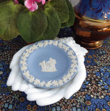 Wedgwood Blue Jasperware Pin Dish Round Cupid As Oracle 1970s Teabag Caddy