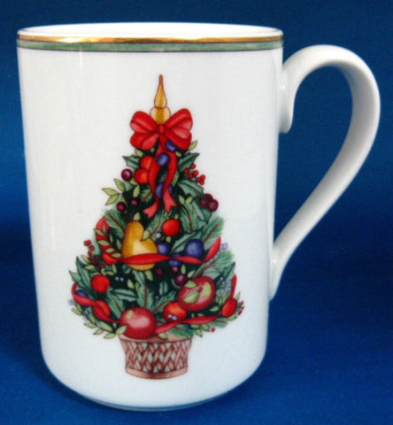 Mug Dansk Nordic Holiday Topiary Fruit Tree Gold Trim Discontinued Christmas Tree - Antiques And Teacups - 1
