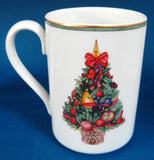 Mug Dansk Nordic Holiday Topiary Fruit Tree Gold Trim Discontinued Christmas Tree - Antiques And Teacups - 2
