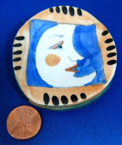 Moon Face Artisan Tea Bag Caddy Hand Painted Ceramic Teabag Dish - Antiques And Teacups - 1