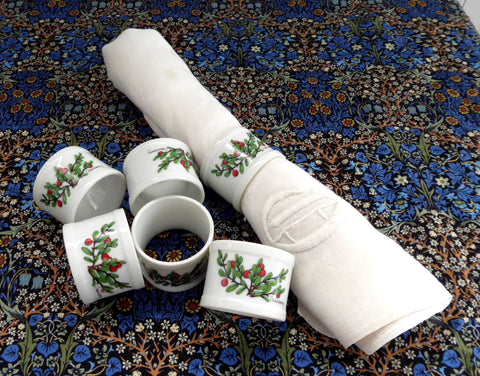Cranberry Napkin Ring Set Of 6 White Ceramic Pretty Red And Green