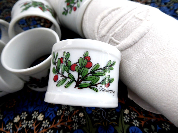 Cranberry Napkin Ring Set Of 6 White Ceramic Pretty Red