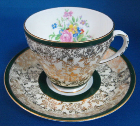 Gold Floral Chintz Cup And Saucer Vintage Royal Grafton Green 1940s Forest Green Bands - Antiques And Teacups - 1