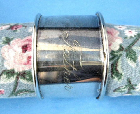 Edwardian Father Napkin Ring Hand Engraved Script Sheffield Silverplate 1908-1912 - Antiques And Teacups - 1