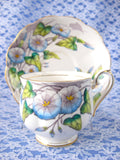 Royal Albert September Morning Glory Cup And Saucer Flower Of The Month 1940s - Antiques And Teacups - 1