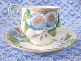 Royal Albert September Morning Glory Cup And Saucer Flower Of The Month 1940s - Antiques And Teacups - 2