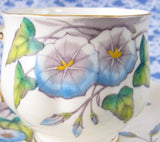 Royal Albert September Morning Glory Cup And Saucer Flower Of The Month 1940s - Antiques And Teacups - 3