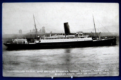 Steamship Postcard Real Photo Liverpool Belfast Daily Express L&NW Railroad 1890 - Antiques And Teacups - 1