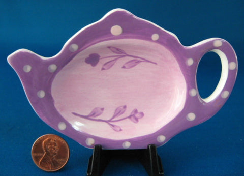 Tea Bag Caddy Teapot Shape Purple Floral Hausenware Teabag Spoon Holder - Antiques And Teacups - 1