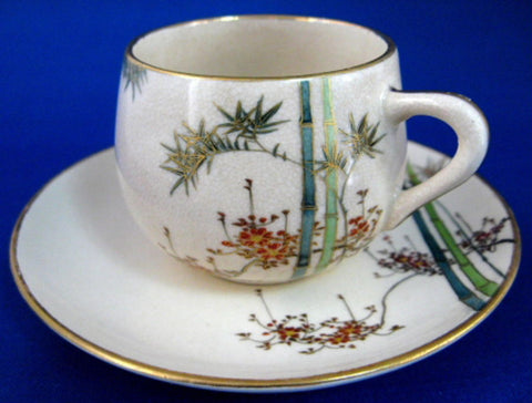Cup And Saucer Satsuma Meji Period Kizan Bamboo Floral Lovely c. 1900 - Antiques And Teacups - 1