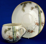 Cup And Saucer Satsuma Meji Period Kizan Bamboo Floral Lovely c. 1900 - Antiques And Teacups - 3