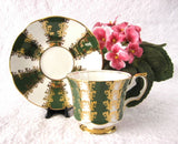 Cup And Saucer Gold Overlay Green Bands Elizabethan England 1960s - Antiques And Teacups - 2