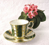 Cup And Saucer Gold Overlay Green Bands Elizabethan England 1960s - Antiques And Teacups - 3