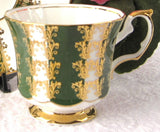 Cup And Saucer Gold Overlay Green Bands Elizabethan England 1960s - Antiques And Teacups - 4