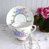 Roslyn Cup And Saucer Art Deco Painted Flowers 1930s Bone China