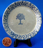 Sponge Decorated Blue Tree Butter Pat Stoneware Teabag Caddy 1970s Small Plate - Antiques And Teacups - 1