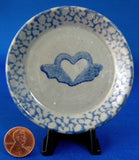 Heart And Wings Blue Sponge Butter Pat Stoneware Teabag Caddy - Antiques And Teacups - 1
