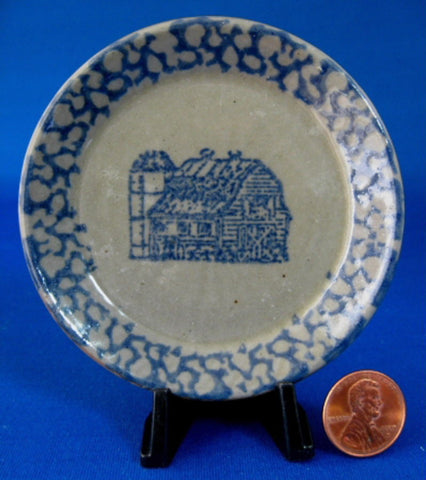 Butter Pat Stoneware Blue Sponged Stencil Barn teabag Caddy USA 1970s - Antiques And Teacups - 1