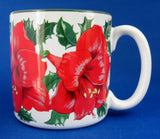 Christmas Mug Amaryllis Artist Signed Shao Wei Liu 1996 Potpourri Press - Antiques And Teacups - 1