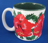 Christmas Mug Amaryllis Artist Signed Shao Wei Liu 1996 Potpourri Press - Antiques And Teacups - 3
