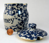 Honey Jar Stoneware Blue Sponged Crock Blue Letters Pottery Honey Jar - Antiques And Teacups - 2